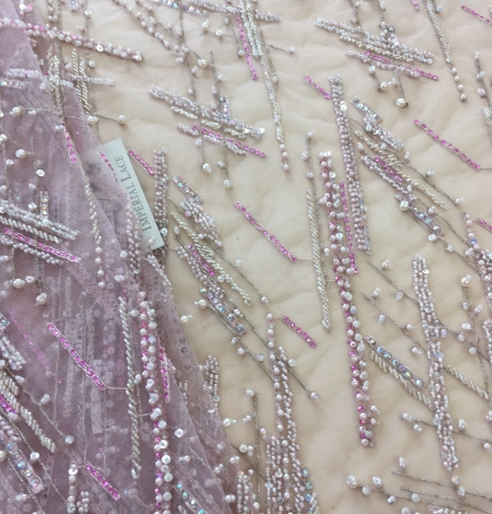 Pink beaded lace fabric. Photo 3