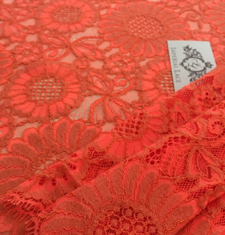 Orange Lace Fabric. Photo 3