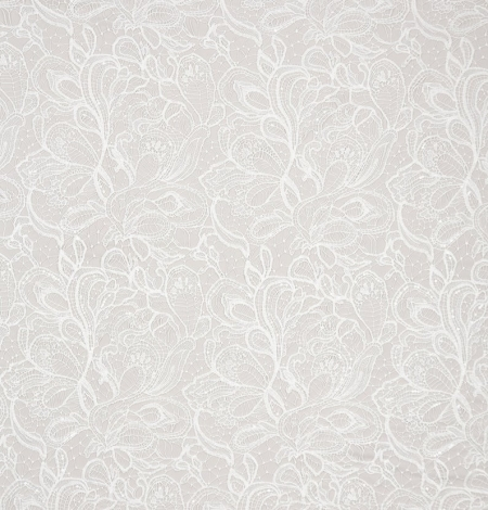 Off white acrame beaded floral lace fabric. . Photo 8