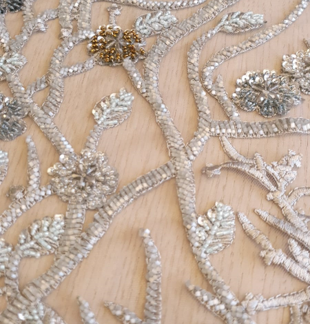 Grey beaded lace fabric. Photo 5