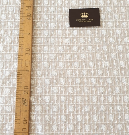 Ivory checkered floral beaded lace fabric. Photo 11