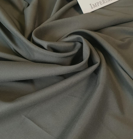Olive polyester with elastane satin fabric. Photo 2