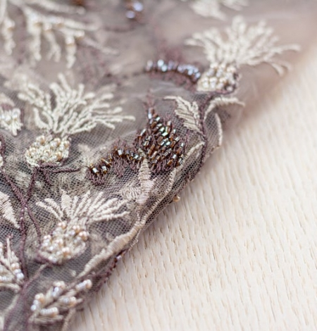 Brown with grey embroidery on tulle fabric. Photo 2
