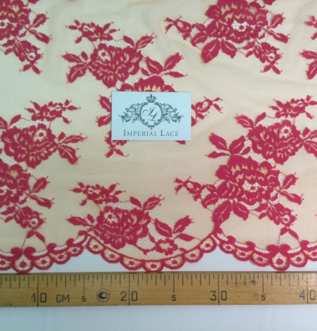 Orange and Fuchsia Color Lace Fabric. Photo 5