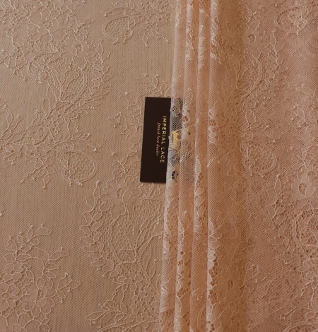 Nude 100% polyester floral chantilly lace fabric. Photo 10