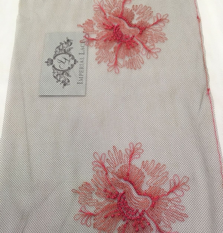 Pink embroidery on tulle Chantilly Lace. Photo 3