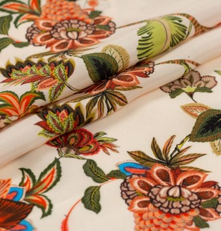 Multicolor floral printed silk crepe fabric. Photo 5