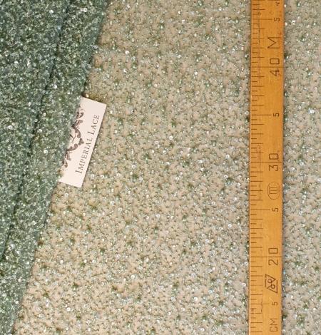 Green beaded lace fabric. Photo 5