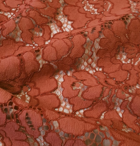 Redish brown guipure lace fabric. Photo 2