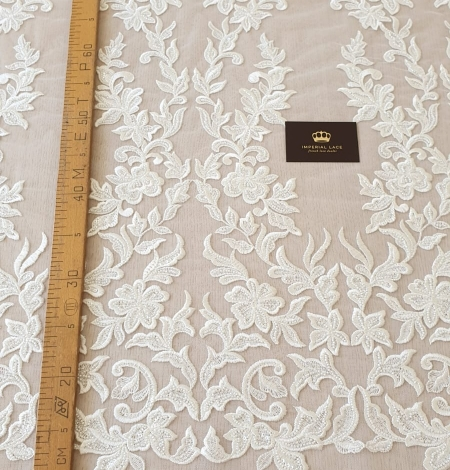 Ivory thick embroidery beaded lace fabric. Photo 8