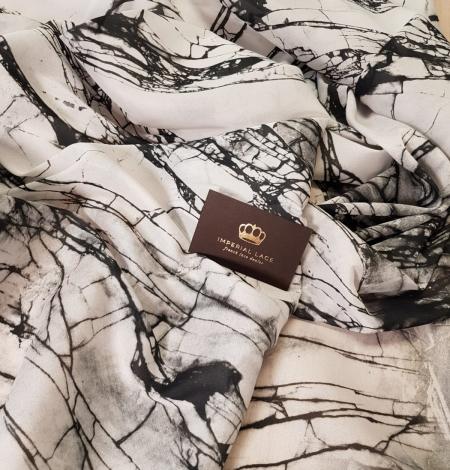 White and black marble pattern silk crepe chiffon fabric . Photo 2