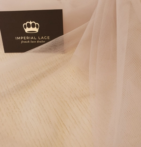 Beige invisible tulle fabric from Italy. Photo 1