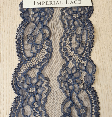 Dark blue elastic chantilly lace trimming. Photo 2