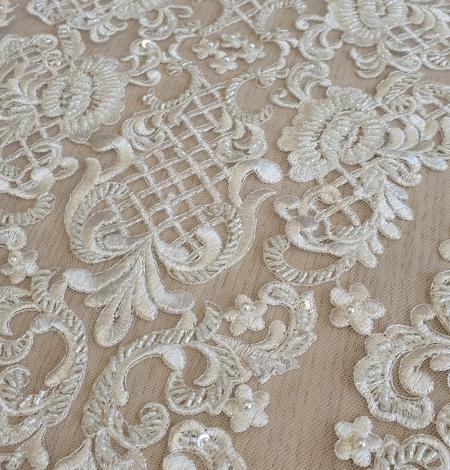Luxury bridal beaded lace fabric. Photo 3