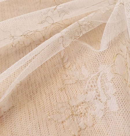 Ivory and grey with gold thread chantilly lace fabric. Photo 6