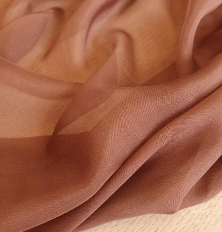 Brown silk chiffon fabric. Photo 3