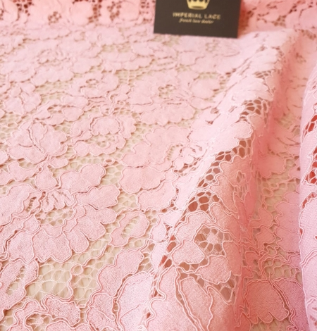 Pink floral guipure lace fabric. Photo 6