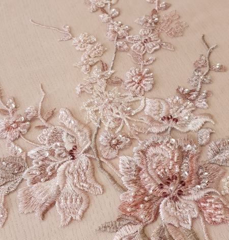 Pink beaded floral lace fabric. Photo 1