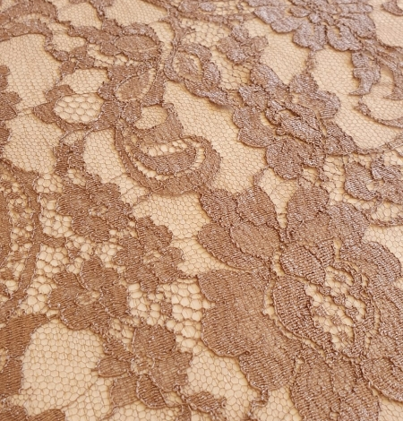 Brown viscose chantilly lace fabric. Photo 5
