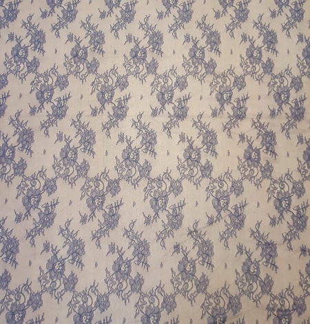 Blue chantilly lace fabric. Photo 5