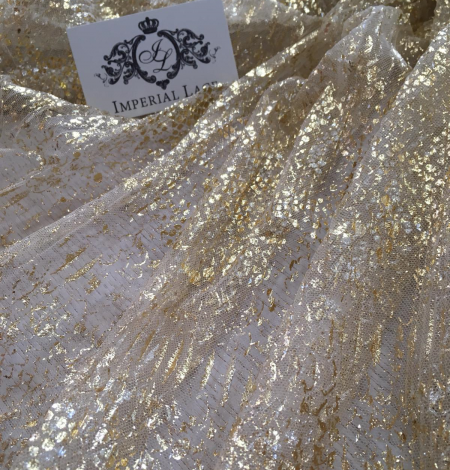 Nude pleated tulle fabric with gold spotting. Photo 3