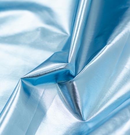 Blue color shiny rain coat fabric. Photo 4