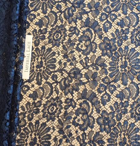 Marine blue chantilly natural lace fabric. Photo 1