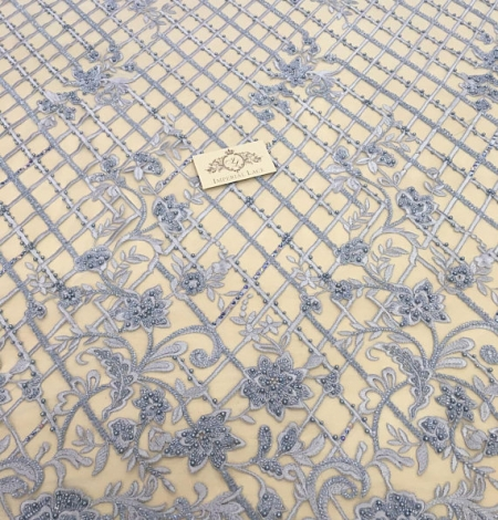 Blue beaded embroidery lace fabric. Photo 3