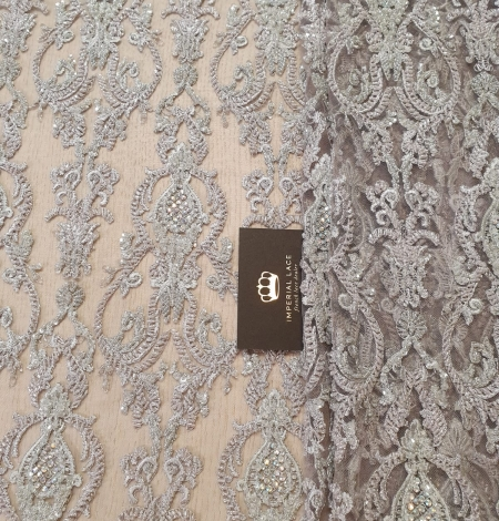 Lilac grey beaded lace fabric. Photo 2