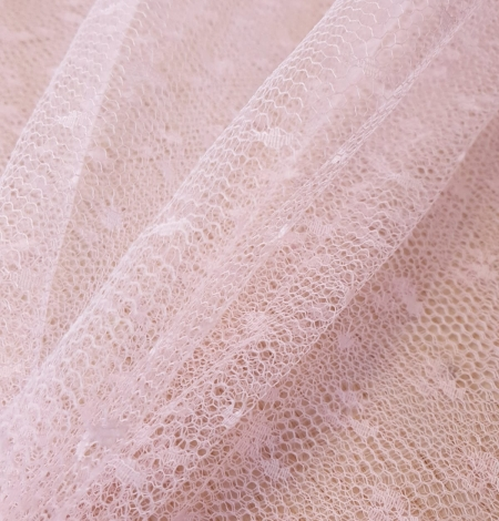 Light pink dotted tulle fabric. Photo 4