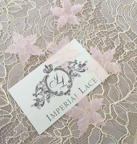 Peach pink organza fabric flowers per 5 pieces. Photo 1