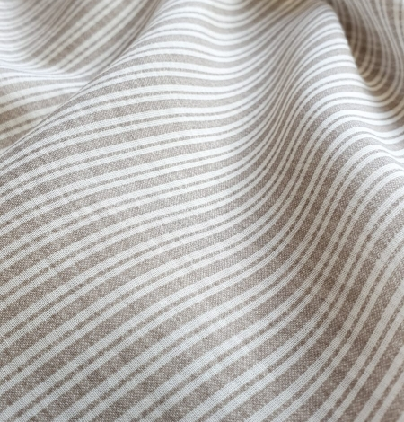 Grey with white stripes viscose fabric. Photo 4