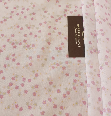 Light pink floral pattern thin batiste fabric. Photo 8