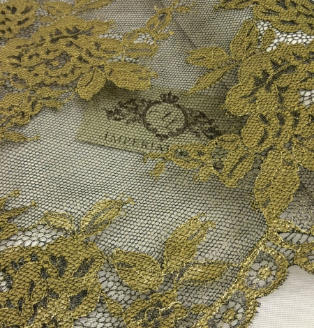 Black Lace Fabric with gold ink. Photo 2