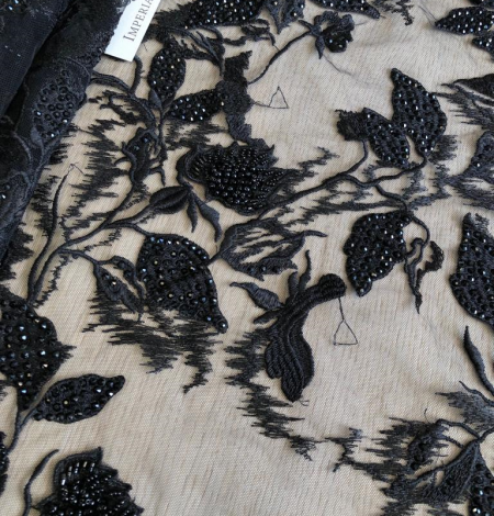 Black beaded lace fabric. Photo 5