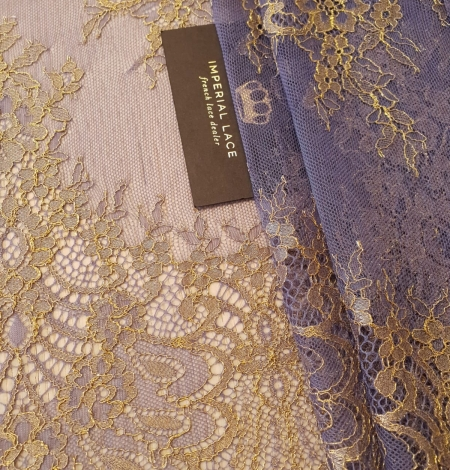 Purple with gold chantilly lace fabric. Photo 1