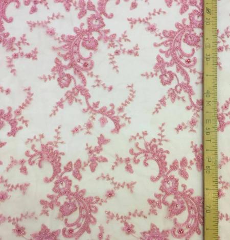 Pink beads Lace fabric. Photo 5