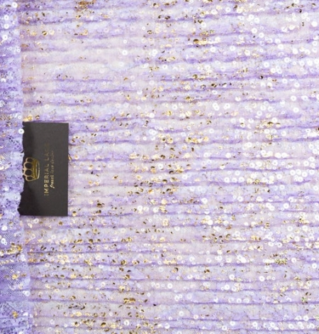 Purple crincle chantilly lace fabric with gold sequins. Photo 1