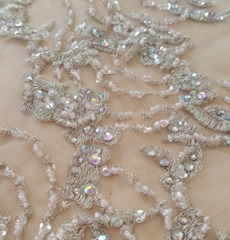 Beige beaded lace fabric. Photo 3