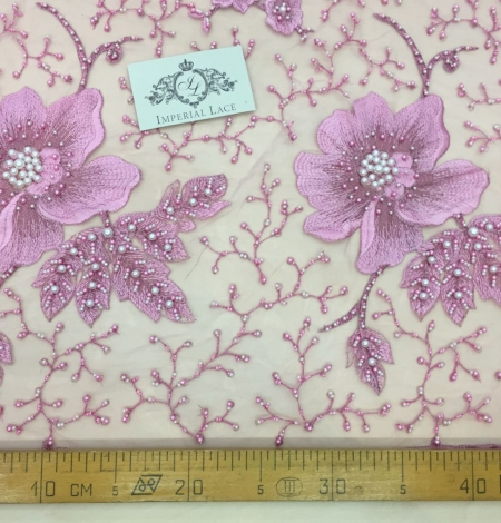 Lilac 3D lace fabric. Photo 4