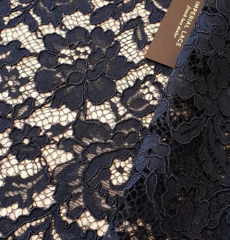 Dark blue guipure lace fabric. Photo 1