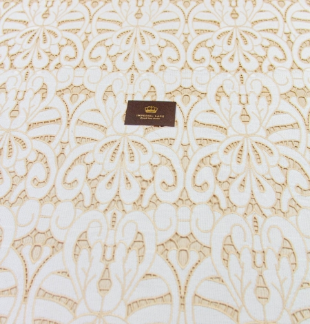 White with light brown macrame lace fabric . Photo 6