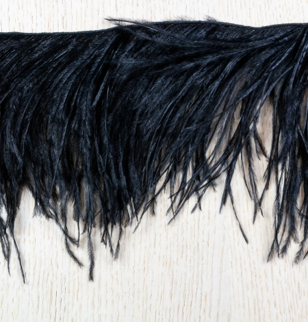 Black soft natural ostrich feather. Photo 7