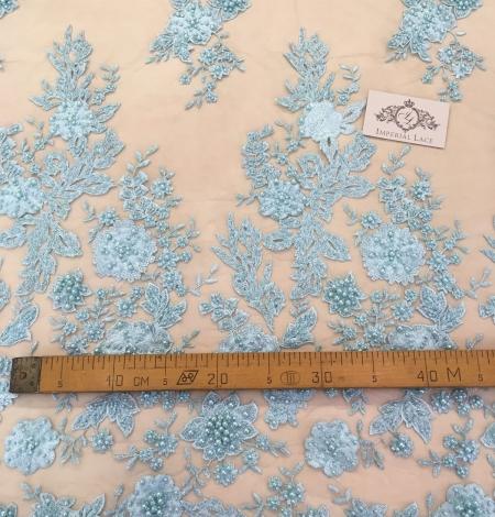 Light greenish blue floral lace fabric. Photo 5