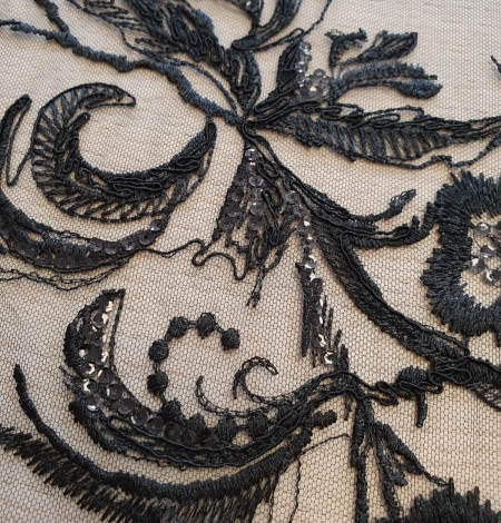 Black beaded romantic embroidery on tulle fabric. Photo 5