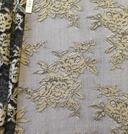 Black with beige flowers lace fabric. Photo 1