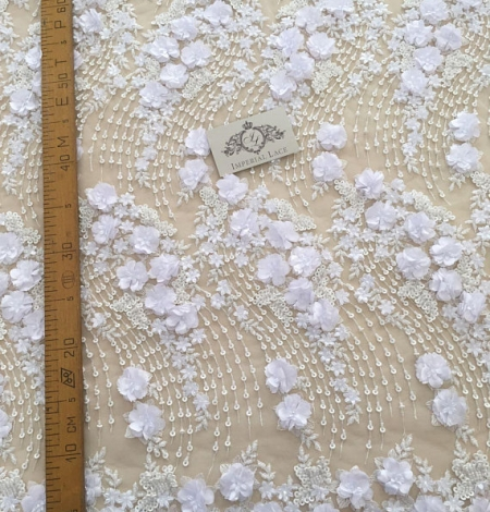 White 3D floral pattern embroidery on tulle fabric. Photo 5