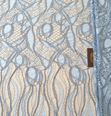 Light and dark blue chantilly lace fabric . Photo 5