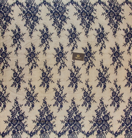 Dark blue floral pattern chantilly lace fabric. Photo 6