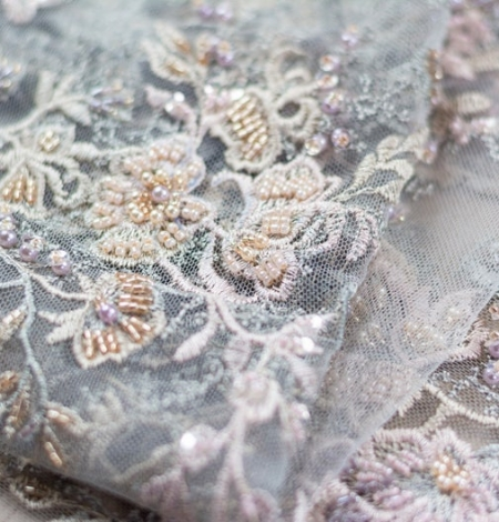 Greyish pink embroidery on grey tulle fabric. Photo 3